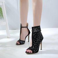 0f8b811297457b schwarze knöchelriemen sexy schuhe großhandel-Frauen Schuhe schwarze Fersen  Plateau Sandalen sexy Strass glänzende Damen