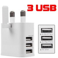 Wholesale phone charger pin for sale - Group buy 3 USB Port UK GB Pin Plug Home Travel Wall Charger Power Adapter For Samsung galaxy s7 s8 s9 s10 note htc lg android phone pc mp3