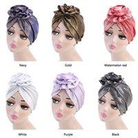 Wholesale cancer beanies for sale - Group buy Muslim Women Elastic Silk Pearlite Flower Knot Turban Hat Scarf Cancer Chemo Beanies Headwear Head Wrap Hair Loss Accessories