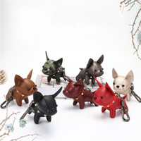 Wholesale leather dog toys for sale - Group buy Pu Leather Pendant Simulation Dogs Toy Lovely Bull Terrier Popular Key Chain Pure Color Hot Selling Fashion qs J1