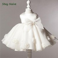 Wholesale summer baptism gown for sale - Group buy baby girl christening gowns summer year birthday dress Big bow fashion tutu wedding baptism dresses