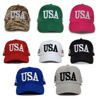 gorras de béisbol al por mayor-2020 bandera americana gorra de béisbol bordada EE.UU. Trump Cap deportes al aire libre del recorrido al aire protector solar Cap T3I5336