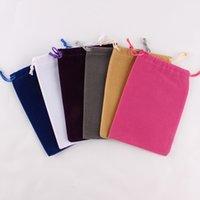 ingrosso fabbrica personalizzata-100pcs / lot 10 * 14cm su misura il marchio ha stampato il sacchetto di imballaggio del sacchetto del cordone del velluto stampato prezzo di fabbrica