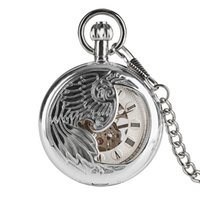 перьевые часы оптовых-Necklace Pocket Watch for Man,Mechanical Silver Feather Carving Pocket Watches for boys, Silver Dial Chain Men's Watches
