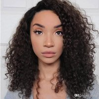 Wholesale peruvian wavy full lace wigs resale online - Afro Curly Wavy Full Lace Wigs For Black Women Pre Plucked Brazilian Glueless Afro Kinky Curly Lace Front Human Hair Wig Bleached Knots