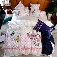 conjuntos de cama vermelha amarela venda por atacado-6 Cor choosable conjuntos de cama Branco Amarelo Vermelho Marinho Brown cama azul folha de rosto com conjuntos Pillowcase Moda Bordados de cama