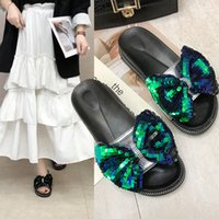zapatillas de esponja al por mayor-Overseas2019 Paillette Fashion Korean Bow Bow Flange Sponge Cake Con Zapatillas Cool Summer Woman Shoes