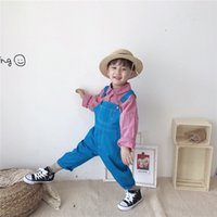 Wholesale toddler girl summer overalls for sale - Group buy Fall INS New Toddler Baby Boys Jumpsuits Suspender Blank Long Sleeve Tatting Cotton Dednim Stylish Newborn Overalls Girls Rompers Onesies