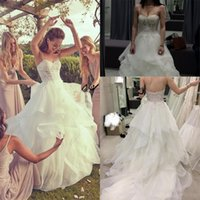 Wholesale sparkle simple wedding dresses resale online - Spaghetti Straps Ruffles Organza wedding dresses Sparkling Beaded Lace Bodice Bridal Gowns Country Garden Church Wedding Gowns