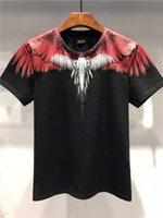 yaka kuplajı toptan satış-Yaz Moda En Kaliteli Marcelo Burlon Kanat Renkli Baskı Mürekkep Püskürtmeli Yuvarlak yaka Kısa kollu Çift T-shirt