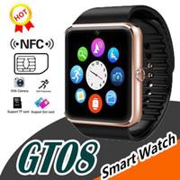 ingrosso guarda iphone sync-Gt08 della vigilanza di Bluetooth Smart For iphone di Apple IOS Android Phone polso Indossare supporto di sincronizzazione intelligente orologio Sim Card In magazzino