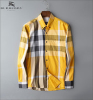 cheque camisas de moda al por mayor-Camisa a cuadros de marca comercial británica, marca de diseñador de moda manga larga% 100 camisa informal de algodón Medusa BB6604