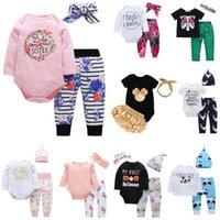 Wholesale animal romper hat online - 25 styles Newborn Baby Boy Girls Clothes Christmas hollowen Outfit Kids Boy Girls Pieces set Romper Pant Hat Baby kids Clothing sets B1