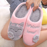 Wholesale winter soft home shoes resale online - Winter Autumn Home Slippers Cartoon Cat Shoes Soft For Women Warm House Slippers Indoor Bedroom Lovers Couples Plush