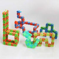 ingrosso track puzzle-Tracce stravaganti per bambini Giocattoli Snap e Click Fidget Puzzle per bambini con serpente autismo fai-da-te Classico giocattolo educativo di decompressione sensoriale