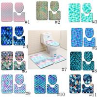 tapis de pêche achat en gros de-Échelle de poisson imprimé Tapis de bain 3pcs / set de bain anti-dérapant Tapis toilettes Couverture Tapis de bain Tapis Tapis 11 styles GGA2232