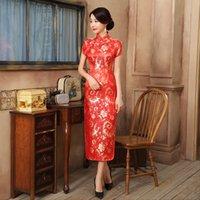 chinês longo cheongsam mais tamanho venda por atacado-Gola mandarim Sexy Feminino Cheongsam Botão Vintage Clássico Qipao Plus Size 3XL-6XL Longo Vestidos vestido de manga curta Chinese