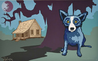 Wholesale dog oil paintings canvas for sale - Group buy George Rodrigue Blue Dog House My Daddy Built w Moon Home Decor Handpainted HD Print Oil Painting On Canvas Wall Art Canvas Pictures