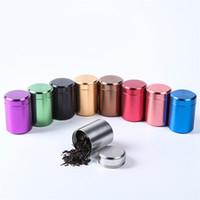 caja de metal café al por mayor-9 colores hermoso aluminio tarro de té caja de lata 47x65 mm pequeño cilindro sellado latas café té lata caja de almacenamiento de contenedores