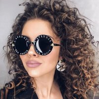 serin güneş gözlüğü serin toptan satış-Moda serin Yuvarlak Güneş Gözlüğü İngilizce Harfler Küçük Arı Güneş Gözlükleri Erkek Kadın Marka Gözlük Tasarımcısı Moda Erkek Kadın 6 RENK