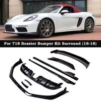 ingrosso accessori per porsche-Stile BYMTM Fibra di carbonio Uscita aria a labbro anteriore Diffusore posteriore Minigonne laterali Accessori paraurti per Porsche 718 Boxster
