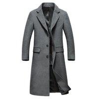 erkek tekli gömlek palto toptan satış-Moda-Moda Yün Palto Erkek Turn-down Yaka X-uzun Tek Göğüslü Yün Palto Yüksekliği Kaliteli Erkek Rahat Ceket