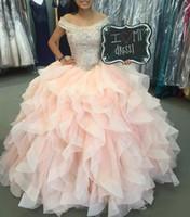 volant d'épaule achat en gros de-Robe de bal en cristal perlé avec perles 16 robes à volants en tulle de bal robe à lacets