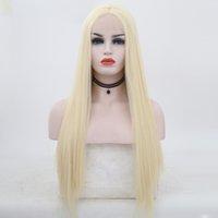 en güzel sarışın saç toptan satış-En iyi Kalite 613 # Sarışın Peruk Isıya Dayanıklı Ipeksi Düz Saç Sentetik Dantel Ön Peruk Kadınlar için Tutkalsız Tam Dantel Peruk ile Bebek Saç
