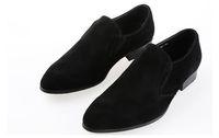 damat için siyah ayakkabı toptan satış-Marka Kırmızı Alt Loafer'lar Damat Erkekler Lüks Parti Düğün Ayakkabı Tasarımcısı SIYAH PATENT DERI Süet Elbise Ayakkabı Için Daireler Üzerinde Kayma