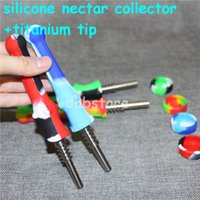 Wholesale nectar collector for dabs resale online - mini silicone Nectar Collector Kit with Titanium dab tool for oil concentrate glass bong water pipes