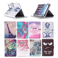 Wholesale acer iconia tablet inch online - Cartoon Printed Universal inch Tablet Case for Apple iPad Cases kickstand PU Leather Flip Cover Case