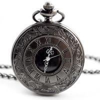 Wholesale big watch necklace for sale - Group buy unisex retro vintage roma pattern hollow pocket watch mens women big mm Necklace Bronze Pendant Chain Clock quartz watches