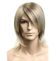 ingrosso lunghezze dei capelli medi-Wig Short Blonde Costume Straight Mid-length For Men Accessory Cosplay Hair Wigs free shipping