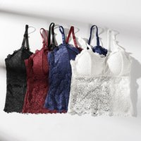 ingrosso giacca imbottita lunga-Top di pizzo Top Beauty Back Wrapped Chest Stest Pad Sexy Gathered Camisole Short Long Bottom Vest