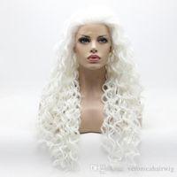 rizado pelucas mujeres blancas al por mayor-Hot Sexy Hairline Natural Afro Kinky Rizado Larga Luz Blanca Peluca Media Mano Atado Resistente al Calor Pelucas Delanteras Sintéticas de Encaje de Halloween para mujeres
