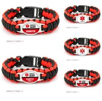Wholesale survival wristband paracord resale online - Diabetic Medical Alert Paracord Survival bracelet Gifts for Diabetic Type Friendship Outdoor Womens Girls Lady sports wristband Bracelets