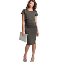 mujer vestido corto enfermera al por mayor-Vestidos de lactancia Vestidos de maternidad de manga corta Gravidas 2019 Ropa de maternidad para mujeres embarazadas Ropa