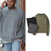sudaderas con capucha urbanas al por mayor-Streetwear de gran tamaño pulóver sudadera Kanye West lavada en dificultades sudaderas y sudaderas para hombre Hiphop ClothingMX191011 Urbano