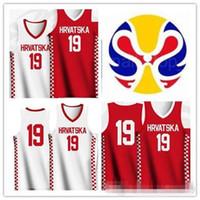 en iyi indirim forma toptan satış-Özel ad numarası 2019 Dünya Kupası Basketbol Hırvatistan'ın formaları Beyaz Gömlek Boyutu Dikişli kırmızı: S-3XL