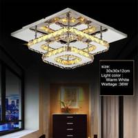araña luminaria al por mayor-K9 Lámpara de techo de cristal Accesorio Modern Chandelier Lustres Led Plafond Para Escalera Pasillo Interior de la casa Lámparas de techo Luminaria - Le63