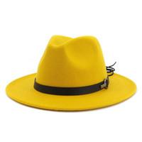 tapa plana de ala grande al por mayor-14 colores mujeres fieltro de lana Jazz Fedora sombreros 2019 más reciente Flat Brim Trilby Panama Style Party Cap exterior grande Brim sombrilla sombrero