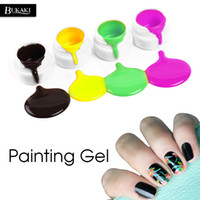 Wholesale black white acrylic painting for sale - Group buy BUKAKI Pure Colors Drawing Paint Bio Acrylic Nails UV Gel Manicure Gel Polish Painting Varnish