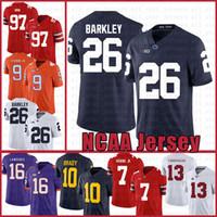 camisa de futebol americano azul venda por atacado-Penn State Nittany Lion 26 Saquon Barkley futebol americano Jersey 10 Tom Brady 97 Nick Bosa Jerseys branco azul