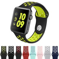 Wholesale silicone watch for sports resale online - For Apple Watch Bands mm mm Silicone Watch Band Sport Band Replacement Wrist Strap Compatible iWatch Series