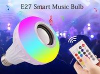lâmpadas de música bluetooth venda por atacado-E27 Inteligente LEVOU Luz RGB Alto-falantes Bluetooth Sem Fio Lâmpada Lâmpada Tocando Música Pode Ser Escurecido 12 W Music Player de Áudio com 24 Teclas de Controle Remoto