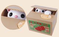 cajas de ahorro al por mayor-Dibujos animados para niños Robo de dinero eléctrico Gato Caja de fruta japonesa Monedas de ahorro Monedas Comida creativa Gato Ahorros de gato Latas Juguetes