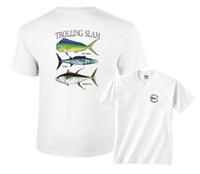 camiseta de pesca al por mayor-Trolling Slam Bull Dolphin Wahoo Yellowfin Tuna Fishing T-Shirt Cartoon camiseta hombres Unisex Nueva moda camiseta envío gratis top