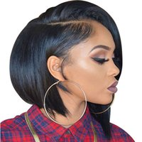 Wholesale natural straight full lace wig for sale - Lace Front Human Hair Wigs Brazilian Remy Hair Short Bob Wig with Pre Plucked Hairline Density