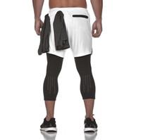 pantalones para niños al por mayor-Pantalón Culottes de dos piezas Culottes de los hombres para el gimnasio de los hombres Nuevo gimnasio Ropa deportiva Pantalones cortos delgados