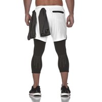 ingrosso corti pantaloni da jogging-Pantaloni sportivi bicchierini bicolore skinny da uomo jogger skinny casual da uomo Nuovi pantaloni sportivi da palestra